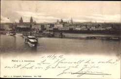 Postcard Mainz, Blick von der Rheinbrücke, Flusspartie, Schiff, Gebäude