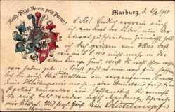 Studentika Präge Litho Marburg an der Lahn, Math. Phys. Verein sei's Panier,1910