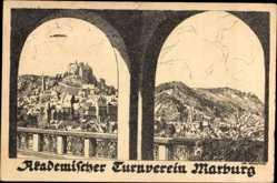 Künstler Ak Marburg an der Lahn, Akademischer Turnverein, Blick auf den Ort