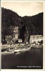 Postcard Hřensko Herrnskretschen Elbe Reg. Aussig, Elbdampfer Dresden, Ort, Felswand