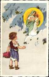 Ak Junge mit Blumenkorb, Madonnenerscheinung, Schnee