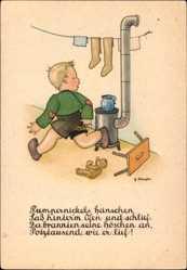 Künstler Ak Scheufler, Pumpernickels Hänschen saß hinterm Ofen und schlief