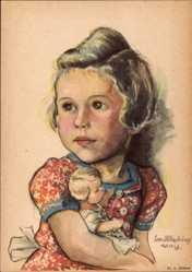 Künstler Ak Oldenburg Wittig, Lotte, Puppe, Mädchen