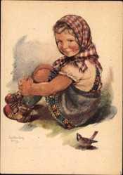 Künstler Ak Oldenburg Wittig, Sitzendes Mädchen, Spatz
