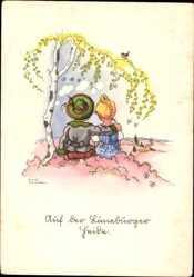 Künstler Ak Lauterborn, Liesel, Auf der Lüneburger Heide, Liebespaar