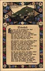 Steindruck Ak Liedkarte Dingelstedt, Weserlied, Franz von Dingelstedt, Blumen