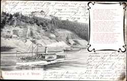 Postcard Fürstenberg an der Weser, Salon Dampfer Kaiser Wilhelm, Gedicht