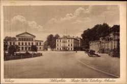 Postcard Coburg in Oberfranken, Schlossplatz, Theater, Palais, Edinburg, Arkaden