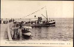 Postcard Arcachon Gironde, Steamer Courrier du Cap, Départ pour excursionner le Bassin