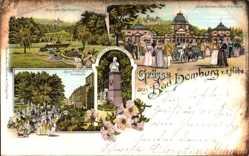 Litho Bad Homburg vor der Höhe, Kaiserbrunnen, Kaiser Wilhelm Bad, Tennisplatz