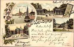 Litho Düsseldorf am Rhein, Rheinpartie, Schiffbrücke, Rattinger Tor, Jägerhof