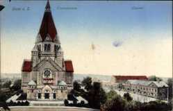 Postcard Riesa an der Elbe Sachsen, Trinitatiskirche, Lazarett