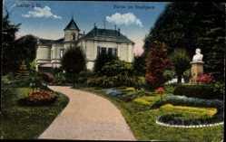 Postcard Lahr im Schwarzwald Ortenaukreis, Partie im Stadtpark, Büste, Gebäude