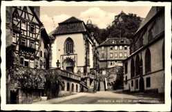 Postcard Wertheim im Main Tauber Kreis, Partie an der Kilianskapelle, Fachwerkhaus