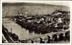 Postcard Bingen am Rhein, Nahetal, Blick auf den Ort, Fluss, Brücke, Burg Klopp