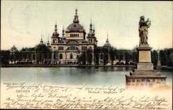 Postcard Hansestadt Bremen, Parkaus im Bürgerpark, Statue, Gewässer