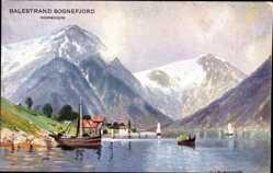 Künstler Ak Balestrand Sognefjord Norwegen, Hafen, Fischerboot, Berge