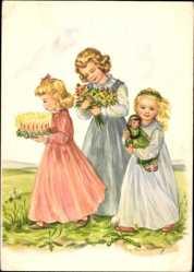 Künstler Ak Stahlberg, Eva Maria, Blumen, Puppe, Blumenstrauß, Kinder