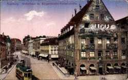 Postcard Augsburg in Schwaben, Weberhaus mit Bürgermeister Fischerstraße, Tram