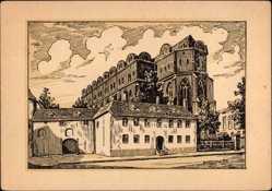 Künstler Ak Barthold, Oskar, Halle an der Saale, Blick auf den Dom