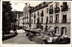 Postcard Bad Brückenau im Sinntal Unterfranken, Das Kurhotel mit Terrasse