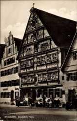 Postcard Dinkelsbühl, Blick auf das deutsche Haus, Fachwerk, Blumenkästen