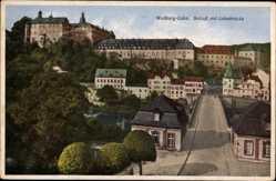 Postcard Weilburg Lahn, Blick auf das Schloss, Lahnbrücke, Straßenpartie