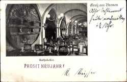 Postcard Hansestadt Bremen, Blick in den Ratskeller, Fässer