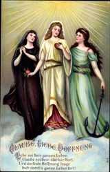 Präge Ak Allegorien Glaube Liebe Hoffnung, Anker, Herz, Rose
