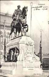 Postcard Budapest Ungarn, Grof Andrassy Gyula szobra, Reiterstandbild