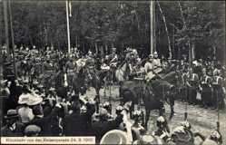 Ak Rastenberg Ostpreußen, Rückkehr von der Kaiserparade 24.8.1910,Prinzen,Kaiser