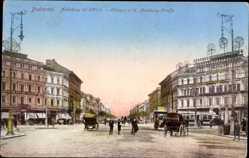 Postcard Budapest Ungarn, Andrassy uti körönd, Andrassy Straße, Kutschen