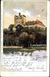 Künstler Ak Bahndorf, Heribert, Ballenstedt im Harz, Blick zur Burg, Fluss