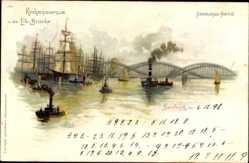 Litho Hamburg, Kirchenpauerkai und die Elb Brücke, Segelschiffe