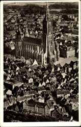 Postcard Ulm an der Donau Baden Württemberg, Blick auf das Münster, Fliegeraufnahme