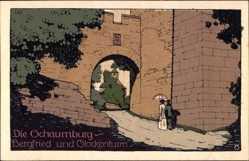 Steindruck Ak Rinteln an der Weser, die Schaumburg, Bergfried, Glockenturm