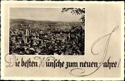 Postcard Stuttgart in Baden Württemberg, Gesamtansicht der Stadt, Neujahr
