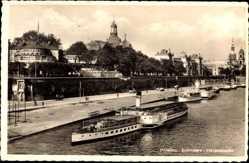 Postcard Dresden Zentrum Altstadt, Belvedere, Terrassenufer, Salondampfer Leipzig