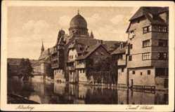 Postcard Nürnberg in Mittelfranken Bayern, Ansicht von Insel Schütt, Synagoge