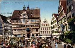 Postcard Tübingen am Neckar Baden Württemberg, Marktplatz, Marktstände, Hotel