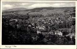 Postcard Meiningen in Südthüringen, Totalansicht der Ortschaft, Felder, Häuser