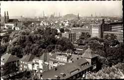 Foto Ak Oberhausen am Rhein, Blick zum Rathaus, Berg, Kirche, Häuser