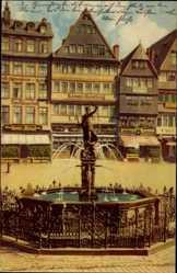 Postcard Frankfurt am Main, Gerechtigkeitsbrunnen und Römerberg, Samenhandlung