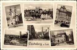 Postcard Landsberg am Lech in Oberbayern, Hinteranger, Strafanstalt, Rathaus, Brunnen
