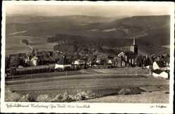 Postcard Masserberg im Thüringer Schiefergebirge, Turmblick, Kirche, Wald, Felder