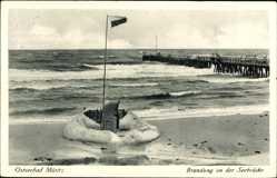 Ak Graal Müritz im Kreis Rostock, Brandung an der Seebrücke, Meerpartie