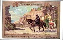 Künstler Ak Janowski, Fritz, Der arme Heinrich,Ritter Heinrich,Mädgelein,Salerno