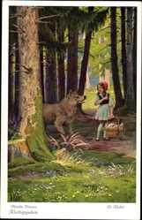 Künstler Ak Kubel, Otto, Rotkäppchen und der böse Wolf, Brüder Grimm