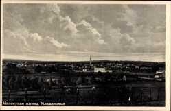 Postcard Mladenovac Serbien, Panorama der Ortschaft, Esse