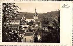 Postcard Bad Liebenzell im Schwarzwald, Teichpartie mit Ortschaft, Kirche